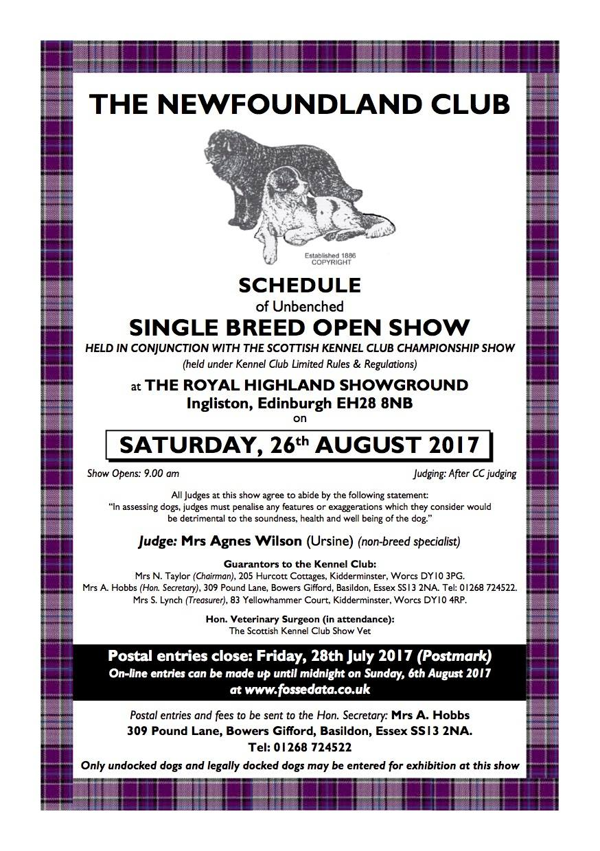 Schedule for the Open Show being held in conjunction with the SKC