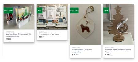 Screenshot of Club Shop homepage showing Christmas items